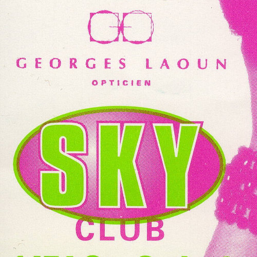 Advertisement for the party mèchebienne presented by Girls in the Sky. There is a pink picture of a person with a wig so high it reaches the top of the page. 1997. Montreal Bars Business. Collection of the Archives gaies du Québec.