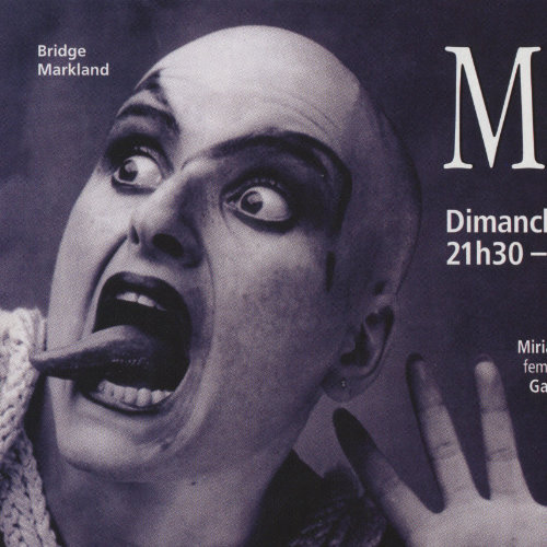 Meow Mix advertisement with Bridge Markland, a Berliner drag king. Picture Credit : Udo Hesse. Source : Divers/Cité, 2003. Collection des Archives gaies du Québec.