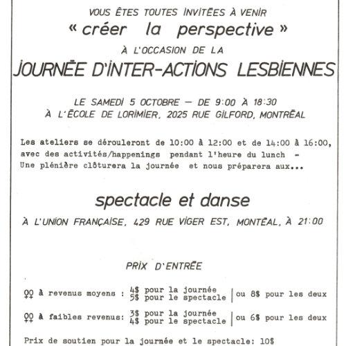 Invitation for the lesbian inter-action day. September 1985. Source : Treize, volume 2, number 1. Collection des Archives gaies du Québec.