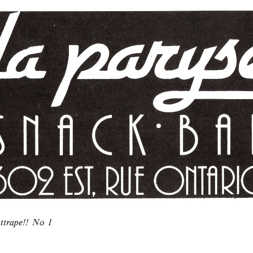 La Paryse advertisement written in white on a black background. Septembre 1982. Source : Ça s'attrape ! volume 1, numéro 1. Collection des Archives gaies du Québec.