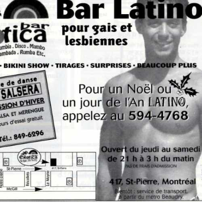 Publicité du bar Exotica. Source: Fugues 1998 vol 14 no. 10. Collection des Archives gaies du Québec