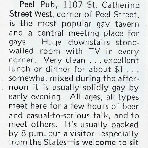 Peel Pub's original facade. Source : Ciao! The World of Gay Travel, June 1973. Collection of the Archives gaies du Québec.