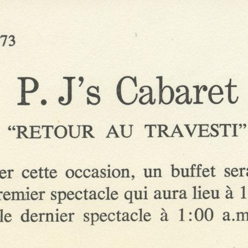 IP.J.'s Advertisement «Retour au travesti.» February 1st, 1973. AGQ-F0050 Fonds Armand Monroe. Collection des Archives gaies du Québec.