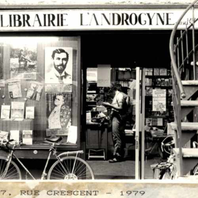 Androgyny bookstore in 1979. Photo credit: Unknown photographer. 1979. AGQ-F0005/S9/D1. Fonds Librairie L'Androgyne/Androgyny Bookstore. Collection of the Archives gaies du Québec.