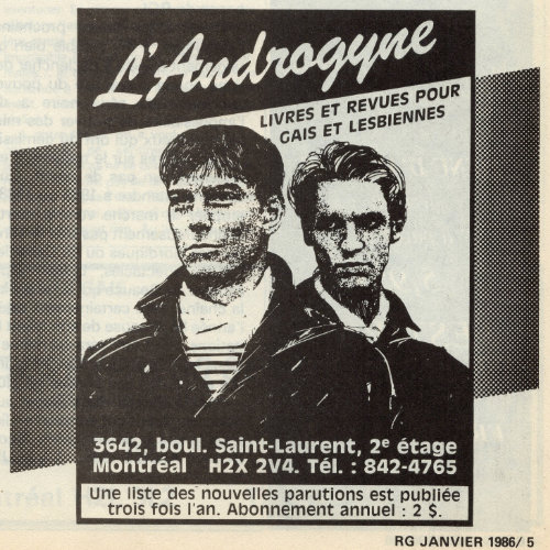 Advertisement for l'Androgyne featuring a drawing of two androgynous presenting people wearing black vests. 1986. Source : Rencontres gaies. Collection of the Archives gaies du Québec.
