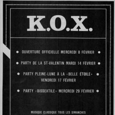 Advertisement of the K.O.X.. Source: Rencontres Gaies No. 18 (February 1984). Collection of the Archives gaies du Québec