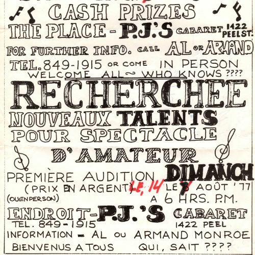 Poster annoucing the search for new talent for an amateur night at P.J.'s. 1977. AGQ-F0050 Fonds Armand Monroe. Collection des Archives gaies du Québec.