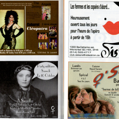Advertisements for lesbian bars, as well as the café Cléopâtre. Two of these bars are situated on the Plateau. Source: Fugues 1998, special edition #2 (Fall/Winter 98-99). Collection of the Archives gaies du Québec