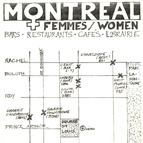Montréal Femmes/Women's Map : bars, restaurants, cafés. 1985. Graphic design : unknown. D-015. Collection of the Archives gaies du Québec.
