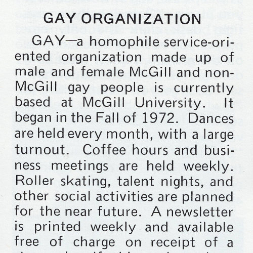 Text about GAY McGill in the travel magazine Ciao ! Source: Ciao! The World of Gay Travel, June 1973. Collection des Archives gaies du Québec.